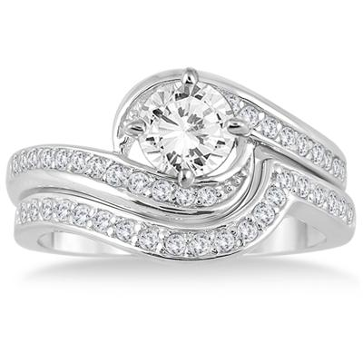 AGS Certified 1 3/8 Carat TW Diamond Bridal Set in 14K White Gold (J-K Color, I2-I3 Clarity)