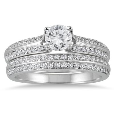 7/8 Carat TW Diamond Bridal Set in 14K White Gold