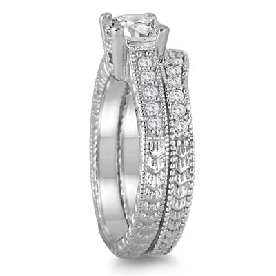 AGS Certified 1 Carat TW White Diamond Bridal Set in 14K White Gold (J-K Color, I2-I3 Clarity)