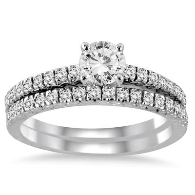 1 Carat TW Diamond Bridal Set in 14K White Gold