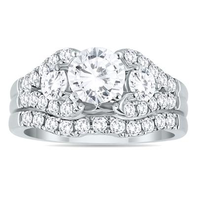 AGS Certified 2 1/5 Carat TW  Diamond Bridal Set in 14K White Gold (J-K Color, I2-I3 Clarity)