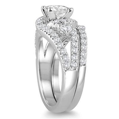 2 Carat TW Princess Cut Antique Diamond Bridal Set in 14K White Gold