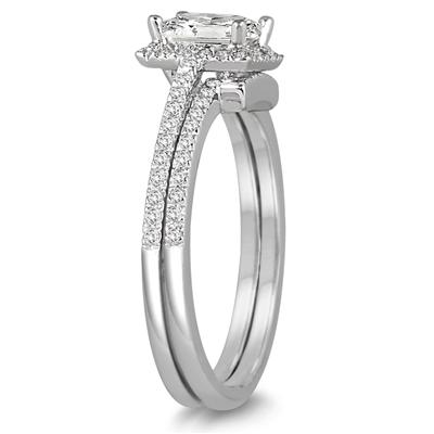 1 1/10 Carat TW Princess Cut Diamond Bridal Set in 14K White Gold