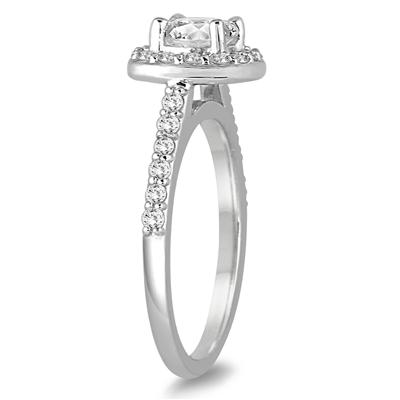 AGS Certified 1 1/2 Carat TW Cushion Cut Diamond Halo Bridal Set in 14K White Gold