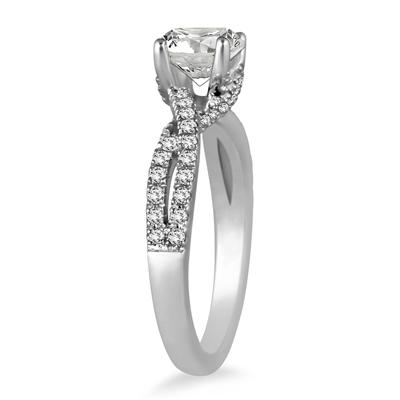 AGS Certified 1 1/3 Carat TW Diamond Bridal Set in 14K White Gold (I-J Color, I2-I3 Clarity)