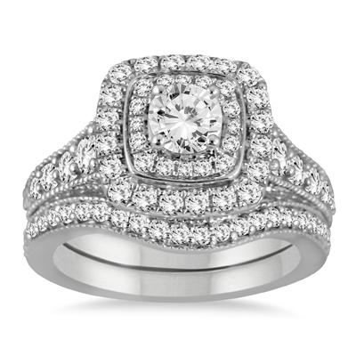 AGS Certified 1 3/8 Carat TW Diamond Halo Bridal Set in 14K White Gold (J-K Color, I2-I3 Clarity)