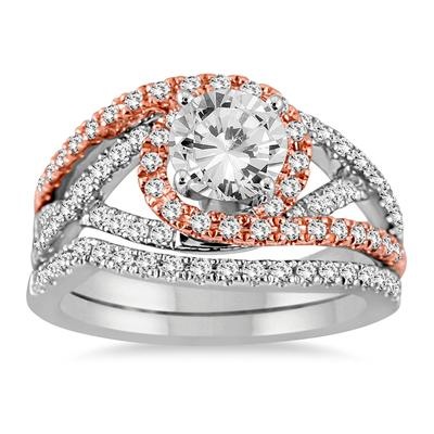 AGS Certified 1 1/2 Carat TW Diamond Bridal Set in Two Tone 14K White Gold (J-K Color, I2-I3 Clarity)
