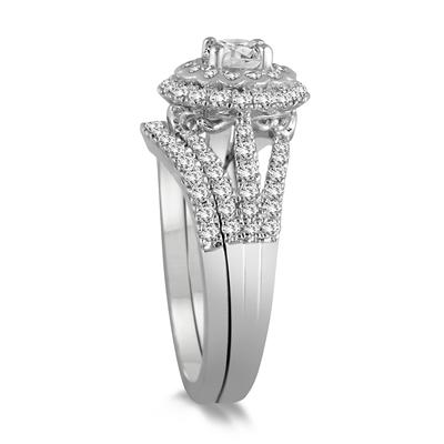 AGS Certified 1 3/4 Carat TW Diamond Bridal Set in 14K White Gold (J-K Color, I2-I3 Clarity)
