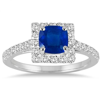 Cushion Cut Sapphire and Diamond Bridal Set in 14K White Gold