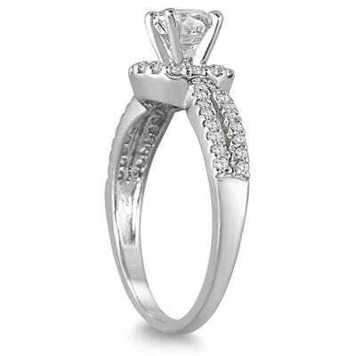 AGS Certified 1 1/5 Carat TW Diamond Halo Bridal Set in 14K White Gold (J-K Color, I2-I3 Clarity)