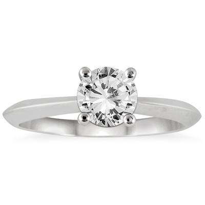 AGS Certified 1 Carat Knife Edge Diamond Bridal Solitaire Set in 14K White Gold (I-J Color, I2-I3 Clarity)
