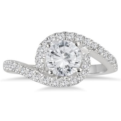 AGS Certified 1 1/2 Carat TW Curved Diamond Bridal Set in 14K White Gold (I-J Color, I2-I3 Clarity)