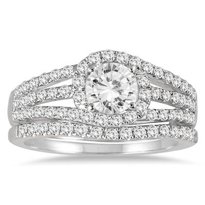 AGS Certified 1 1/2 Carat TW Halo Twist Diamond Bridal Set in 14K White Gold  (J-K Color, I2-I3 Clarity)
