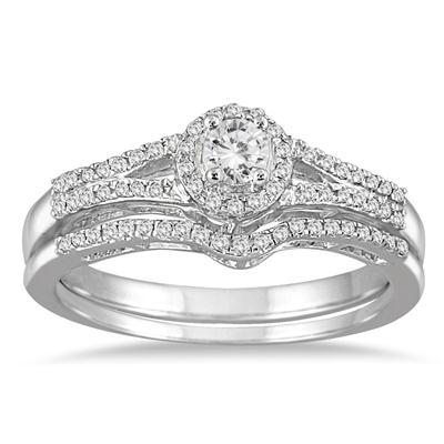 1/3 Carat TW Diamond Halo Bridal Set in 10K White Gold (K-L Color, I2-I3 Clarity)