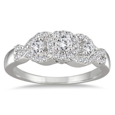 5/8 Carat TW Three Stone Diamond Cluster Bridal Set in 10K White Gold
