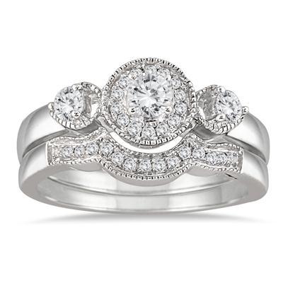 1/2 Carat TW Diamond Bridal Set in 10K White Gold