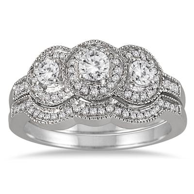 3/4 Carat TW Three Stone Antique Diamond Bridal Set in 10K White Gold (K-L Color, I2-I3 Clarity)