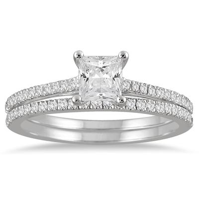 1 Carat TW Princess Cut Diamond Bridal Set in 14K White Gold