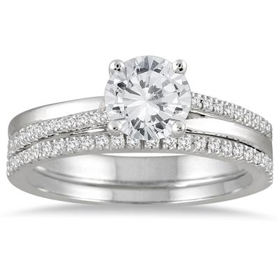 AGS Certified 1 1/4 Carat TW Diamond Bridal Set in 14K White Gold (I-J Color, I2-I3 Clarity)