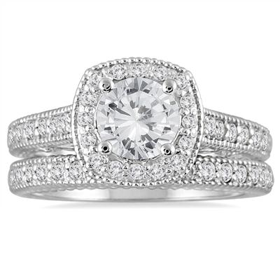 AGS Certified 1 5/8 Carat TW Diamond Halo Bridal Set in 14K White Gold (J-K Color, I2-I3 Clarity)