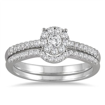1/2 Carat Diamond Cluster Bridal Set in 14K White Gold