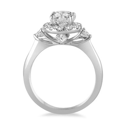 AGS Certified 1 1/2 Carat TW Halo Diamond Halo Bridal Set in 14K White Gold (I-J Color, I2-I3 Clarity)