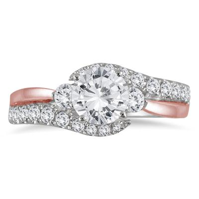 AGS Certified 1 1/2 Carat TW Diamond Bridal Set in Two Toned 14K Pink and White Gold (J-K Color, I2-I3 Clarity)