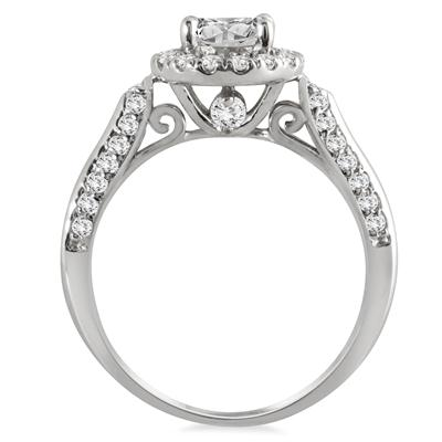 AGS Certified 1 2/3 Carat TW Diamond Halo Bridal Set in 14K White Gold (J-K Color, I2-I3 Clarity)