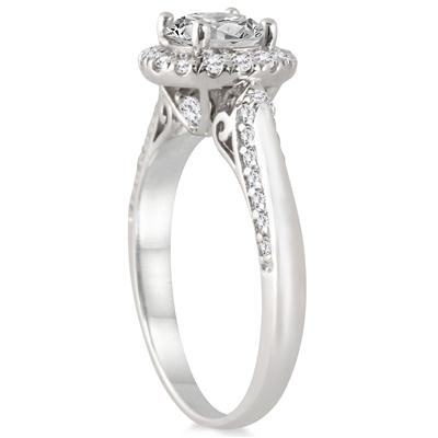AGS Certified 1 2/3 Carat TW Diamond Halo Bridal Set in 14K White Gold (H-I Color, I1-I2 Clarity)