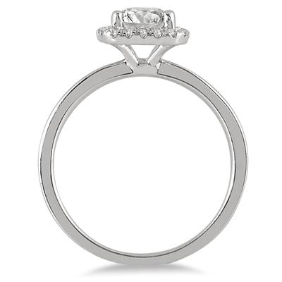 AGS Certified 1 1/4 Carat TW Cushion Cut Diamond Halo Bridal Set in 14K White Gold