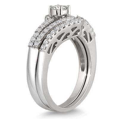 3/4 Carat TW Diamond Bridal Set in 10K White Gold