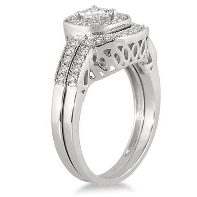 5/8 Carat TW Halo Princess Cut Diamond Bridal Set in 10K White Gold