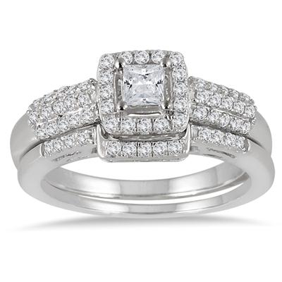 7/8 Carat TW Princess Diamond Halo Bridal Set in 10K White Gold
