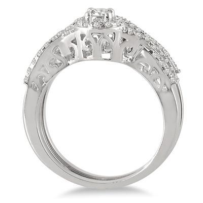 3/4 Carat TW Diamond Twist Halo Bridal Set in 10K White Gold