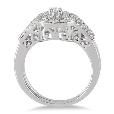 5/8 Carat TW Double Row Halo Diamond Bridal Set in 10K White Gold