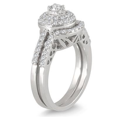 3/4 Carat TW Double Halo Diamond Bridal Set in 10K White Gold