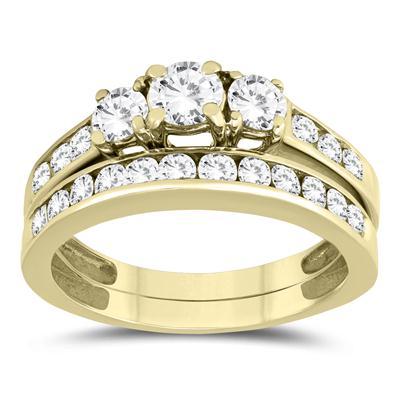 1 1/2 Carat TW Three Stone Diamond Bridal Set in 10K Yellow Gold