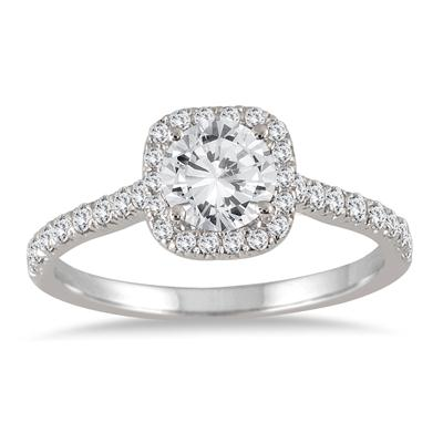 AGS Certified 1 1/3 Carat TW Round Diamond Halo Bridal Set in 14K White Gold (J-K color, I2-I3 Clarity)