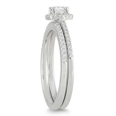 1/2 Carat TW Cushion Diamond Halo Bridal Set in 10K White Gold