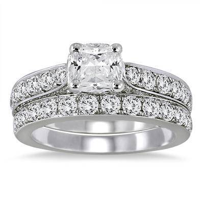AGS Certified 2 1/2 Carat TW Cushion Cut Diamond Bridal Set in 14K White Gold