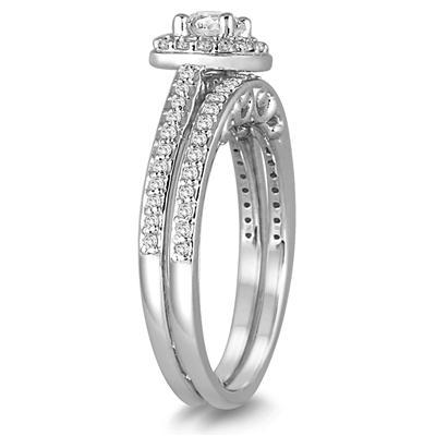 3/4 Carat TW Cushion Cut Diamond Halo Bridal Set in 14K White Gold