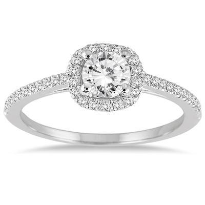 7/8 Carat TW Diamond Halo Bridal Set in 14K White Gold