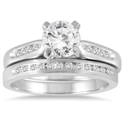 AGS Certified 1 1/5 Carat TW Diamond Bridal Set in 14K White Gold (I-J Color, I2-I3 Clarity)