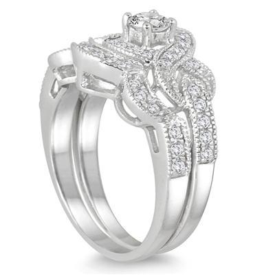5/8 Carat TW Diamond Infinity Bridal Set in 10K White Gold (K-L Color, I2-I3 Clarity)
