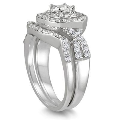 1 Carat TW Double Row Halo Princess Diamond Bridal Set in 10K White Gold (K-L Color, I2-I3 Clarity)