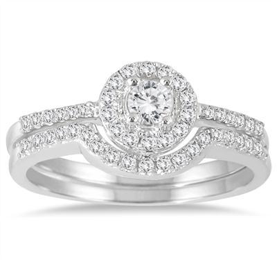 3/8 Carat TW Diamond Halo Bridal Set in 10K White Gold