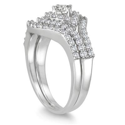 7/8 Carat TW Diamond Bridal Set in 10K White Gold