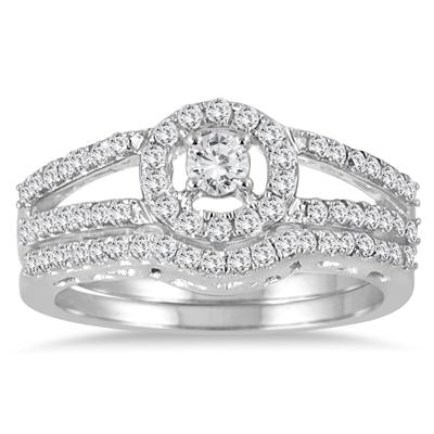 3/4 Carat TW Diamond Split Shank Bridal Set in 10K White Gold