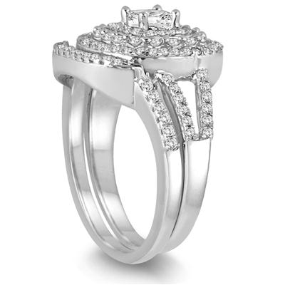 7/8 Carat TW Diamond Princess Triple Halo Bridal Set in 10K White Gold