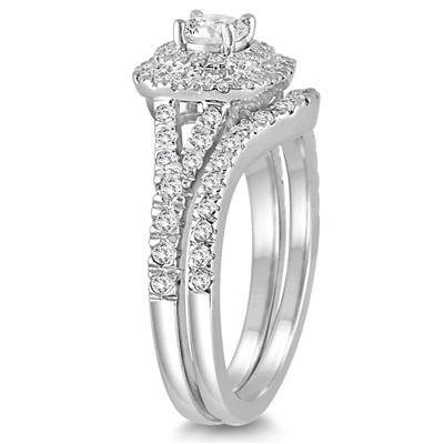 1 Carat TW Diamond Halo Bridal Set in 14K  White Gold